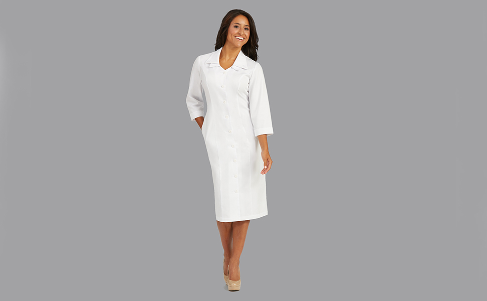 27ada8db620 Med Couture Lab Wear 1233 Women s Lab Dress Button Front Medical Healthcare  Uniforms Fashion