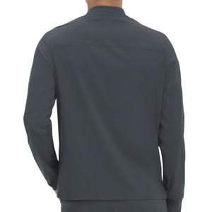 back view of koi Basics 448 men's scrub jacket featuring rib knit waist