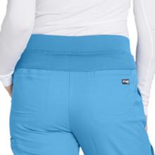 Close-up of modern rise knit waistband on Barco Grey's Anatomy 4277 Women's Cargo Scrub Pant