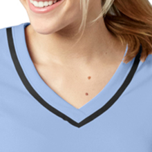 V-neckline with Barco tape detail close-up on Barco Grey's Anatomy 7187 Women's V-Neck Scrub Top