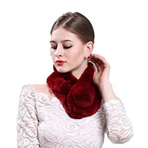 c6bdb0d154ac8 TEERFU Womens Real Beaver Rabbit Fur Wrap Scarf Soft Warm Neck ...