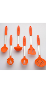 Orange Utensils Set Silicone and Stainless Steel Slotted Spoon Mixing Solid Turner Spatula Tools