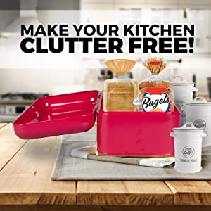 Keep your kitchen countertop clean - Large Storage Bin can fit two loaves and other food
