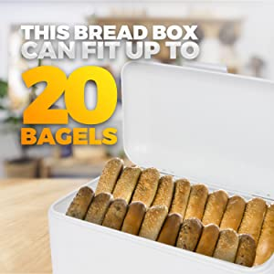 Large Purple Bread Box Bonus Recipe EBook Extra Large Storage Container for Loaves Chips /& More: 16.5 x 8.9 x 6.5 Bagels