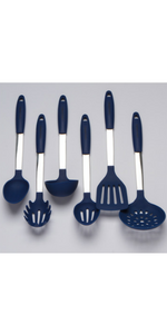 Blue Utensils Set Silicone and Stainless Steel Slotted Spoon Mixing Solid Turner Spatula Tools