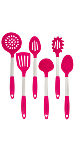 Magenta Utensils Set Silicone and Stainless Steel Slotted Spoon Mixing Solid Turner Spatula Tools
