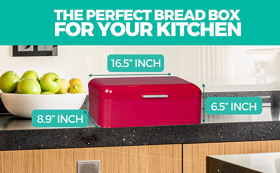 Large Red Bread Box for Kitchen Counter - Laying Next to Apple Bin Tray