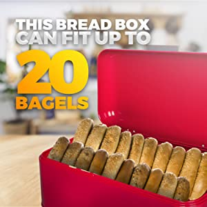 Red Bread Bin can store up to twenty bagels - Bagel Bin and other food