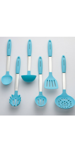Aqua Sky Utensils Set Silicone and Stainless Steel Slotted Spoon Mixing Solid Turner Spatula Tools