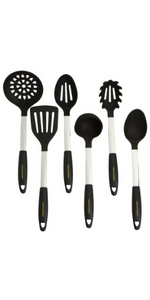 Black Utensils Set Silicone and Stainless Steel Slotted Spoon Mixing Solid Turner Spatula Tools