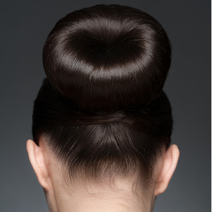 Brown hair donut bun
