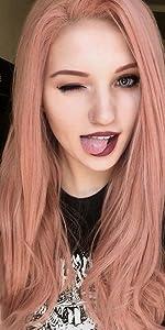 pink wigs human hair