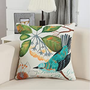 Bird and Flower Pattern Decorative Throw Pillow Case