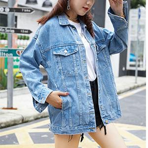Women's Oversize Vintage Washed Boyfriend Denim Jacket Classic Light Blue Jean Trucker Jacket
