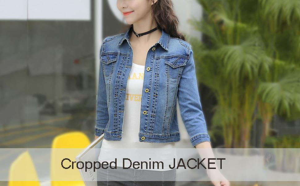 Omoone Womens 3//4 Sleeve Cropped Slim Distressed Denim Trucker Jacket Shrug Top