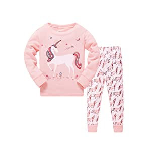 8a52e2c17f3a Amazon.com  Papoopy Girls Unicorn Pajama Set 2-7 Years  Clothing