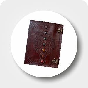 Pearl Leather Seven Stone Chakra Book of Shadows College Book Poetry Notebook Office Diary Book