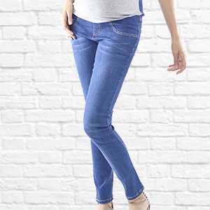 fa89a7aab1ae2 WuhouPro Womens Super Stretch Adjustable Maternity Jeans at Amazon ...