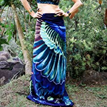 silk skirt silk scarf wings design wing print printed shawl
