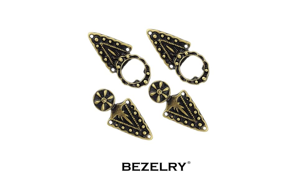 Antique Brass Sew On Hooks and Eyes Cardigan Clip 52mm x 15mm Fastened Bezelry 6 Pairs Triangles and Flower Cape or Cloak Clasp Fasteners