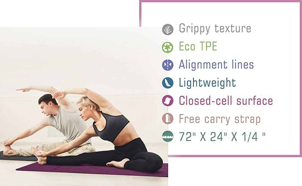 Ewedoos Eco Friendly Yoga Mat with Alignment Lines, TPE Yoga Mat Non Slip Textured Surfaces ¼-Inch Thick High Density Padding to Avoid Sore Knees, ...