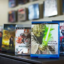 shelf design displaying movies, mixed media mounting system, easy to use, perfect for collectibles