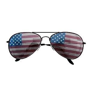 b8193b878b66 American USA Flag Design Metal Frame Aviator Unisex Sunglasses Print  Patterned Lens Sun Protection