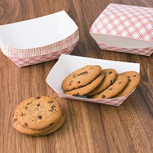 disposable serveware, fast food baskets, paper food trays, disposable red check paper food trays