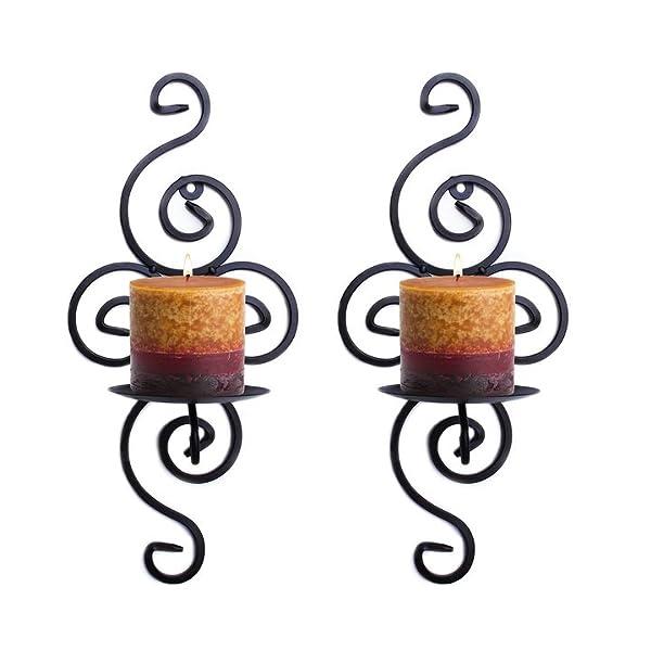 Amazon.com: Pair of Elegant Swirling Iron Hanging Wall Candleholders ...