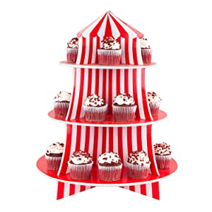 3 tier cupcake stand emphasized red and white striped classic circus tent design with 3 round levels make it an essential cupcake stand for your next family