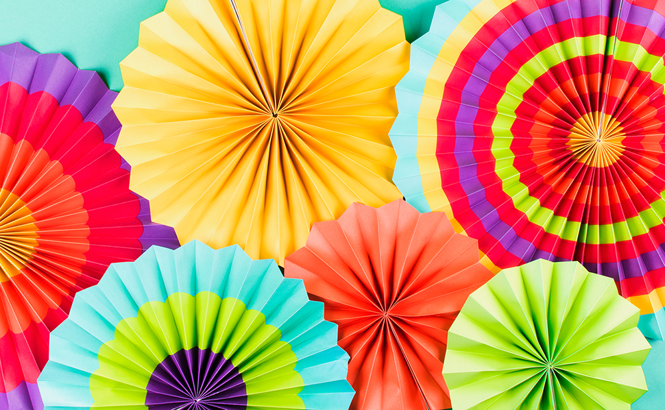 Amazon Super Z Outlet Fiesta Colorful Paper Fans Round Wheel