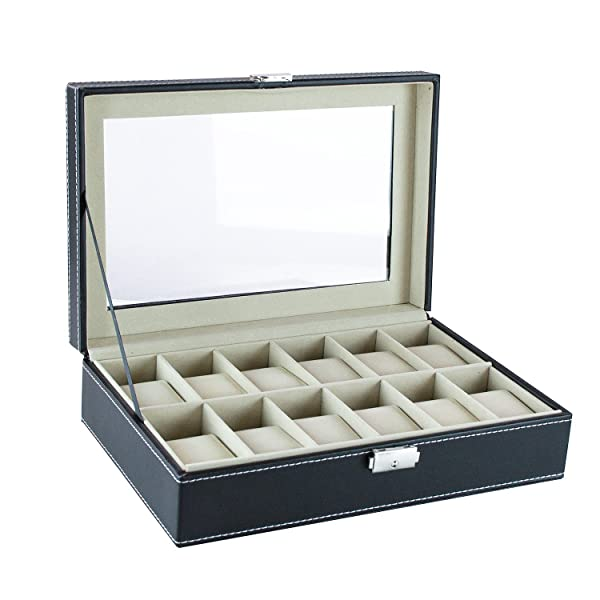 Features a see through clear top lid to show to easily choose a piece from your beautiful collection. Makes your dress room and make up table look beautiful ...  sc 1 st  Amazon.com & Amazon.com: 12 Slot Black Wooden Faux Leather Watch Jewelry Storage ...