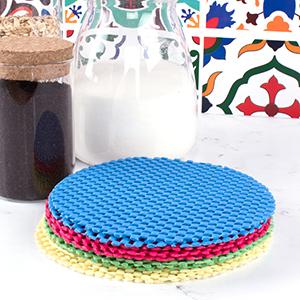 Rubber Jar Gripper Pads Round Kitchen Coasters Multi-Purpose Bottle Lid Openers, kitchen utensils