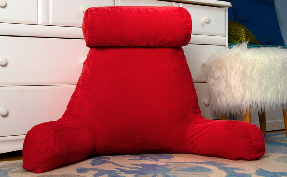 Miraculous Husband Pillow Red Big Backrest Reading Bed Rest Pillow With Arms Plush Memory Foam Fill Remove Neck Roll Off Bungee Change Covers Zipper On Ocoug Best Dining Table And Chair Ideas Images Ocougorg