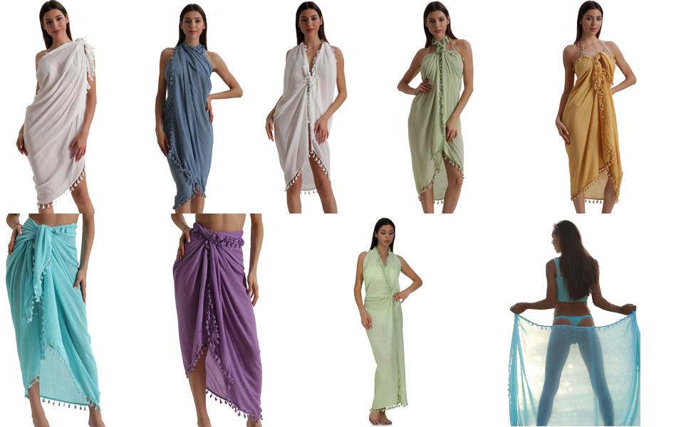 475be3ceb1 Eicolorte Beach Sarong Pareo Womens Linen Cotton Swimwear Cover Ups ...