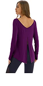 9db6fedc17e Yucharmyi Women s Backless Blouse Cross Back Shirts · Yucharmyi Women s  Long Back Split Shirts Thumb Holes Sport Top · Yucharmyi Long Sleeve Yoga  Shirt ...