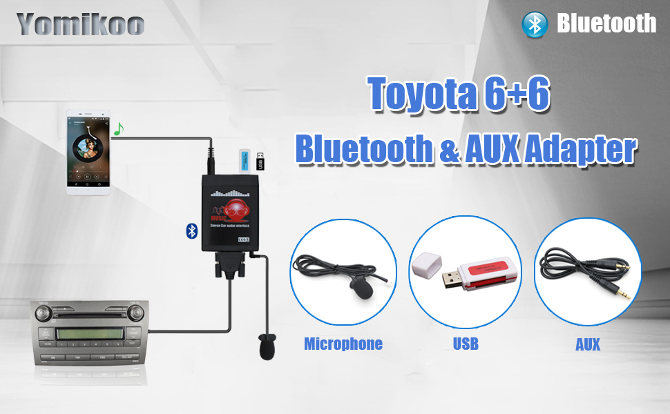 Bluetooth Car Adapter, Yomikoo Car MP3 USB/AUX 3 5mm Stereo Wireless Music  Receiver Wireless Hands Free Auto Bluetooth Adapter for Toyota (6+6) Pin