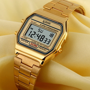 Digital Sports Watch Stainless Steel Band Waterproof Square LED Back Light Men's Wristwatch Gold