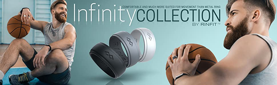 infinity collection by rinfit man play ball fitness gym silicone wedding ring on finger for him