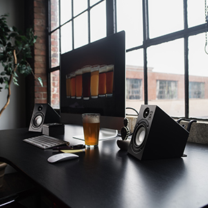 desktop speakers, computer speakers, small size, compact