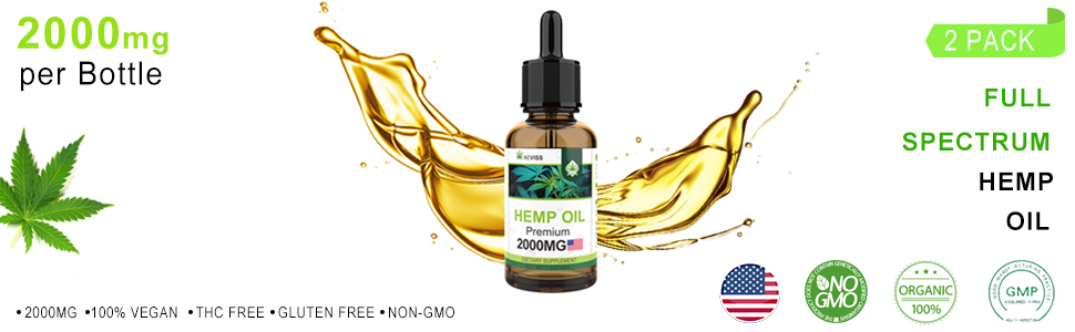 Nevis Premium Organic Hemp Oil Extract 100% Natural (2 Pack)