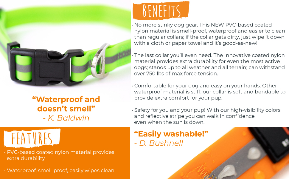 Waterproof proof water biothane dog collar