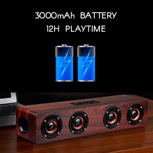 long battery wooden speaker