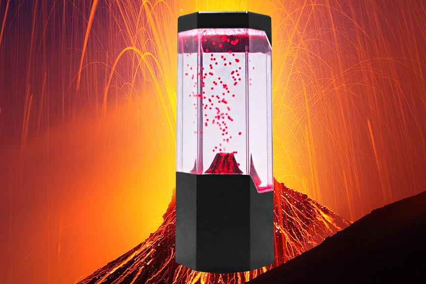 Lightahead Led Volcano Lamp Red Lava Erupting Mini Led Lit
