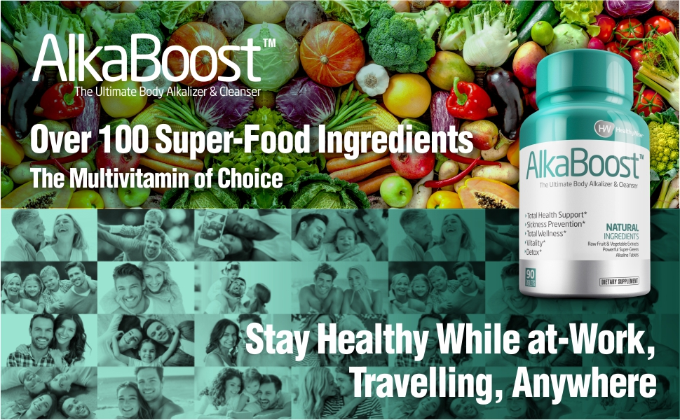 Alka Boost MultiVitamin for Healthy pH Balance, Alkaline Booster & Immune System Support. Natural Detox - Promotes Energy Clarity and Focus - Green ...