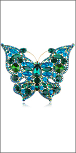 Fashion Jewelry Gorgeous New Vintage Gold Red Rainbow Crystal Butterfly Fashion Brooch Pins & Brooches