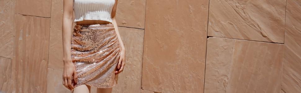 anna kaci white ribbed crop top rose sequin skirt