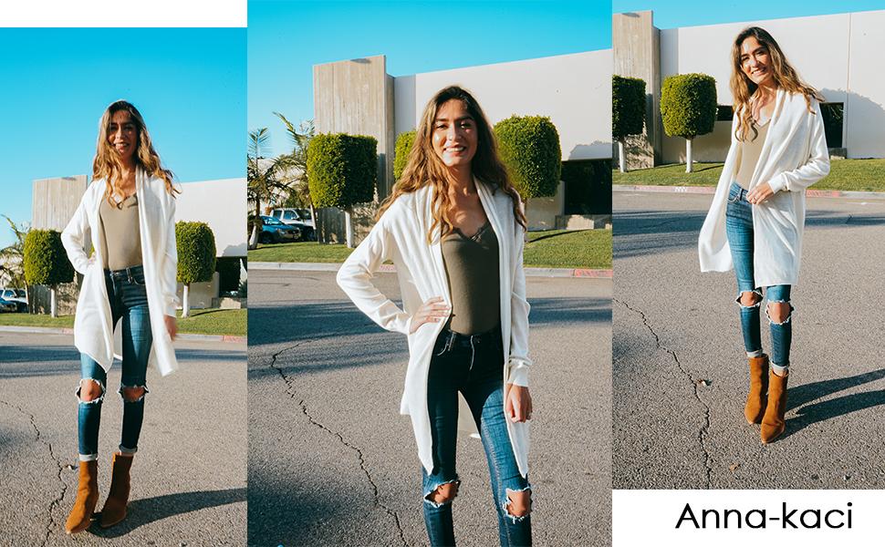 3871e024989 Anna-Kaci Oversized Open Front Long Sleeve Drape Mesh Duster Knit Cardigan  Sweater