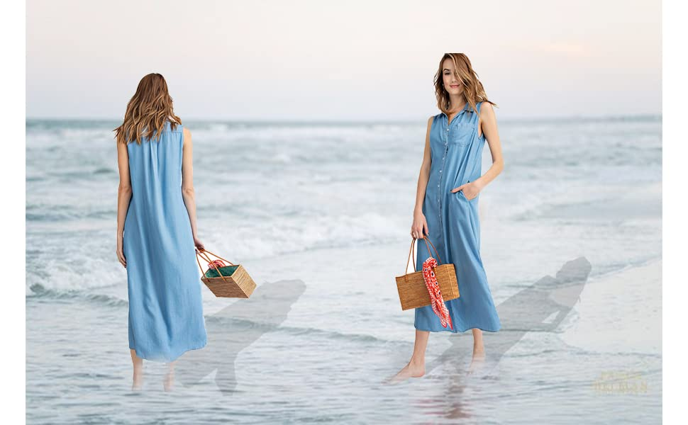 6e61690ffbb Step out in style with this sleeveless tunic shirt dress! This long button  down dress is made of a soft and lightweight tencel and has a collared  neckline ...
