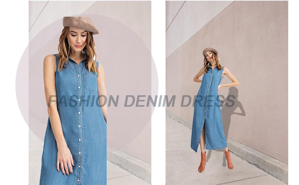 f30e79eef70 Anna-Kaci Classic Sleeveless Blue Jean Button Down Denim Pocket Collar Shirt  Dress